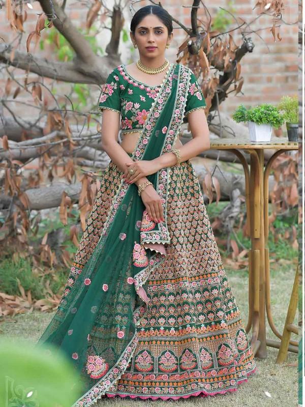 Silk Designer Lehenga Choli Green Colour.