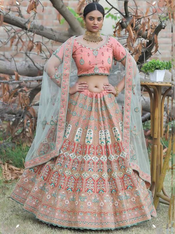 Peach Colour Silk Women Lehenga Choli.