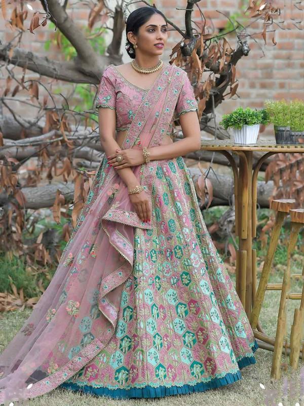 Green,Pink Colour Silk Fabric Bridesmaid Lehenga Choli.