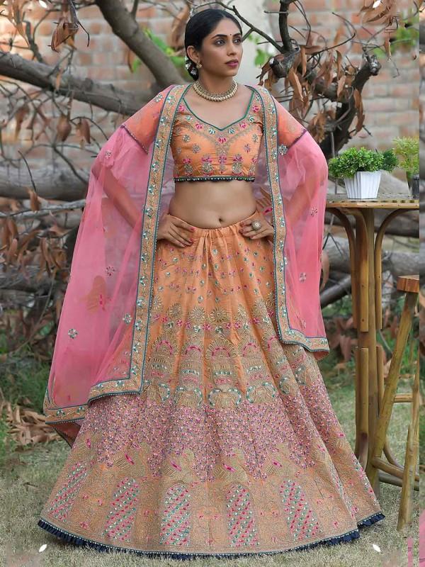 Orange Colour Silk Lehenga Choli.