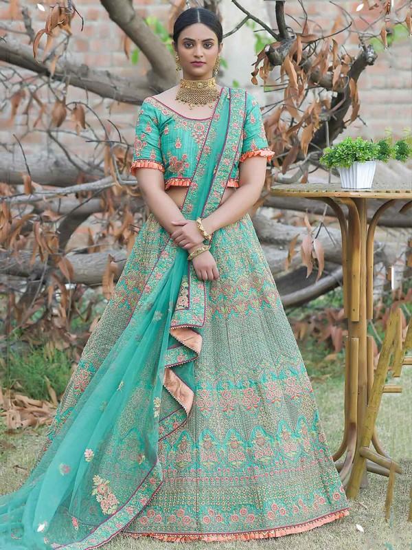 Green Colour Silk Lehenga Choli With Zari,Resham Work.