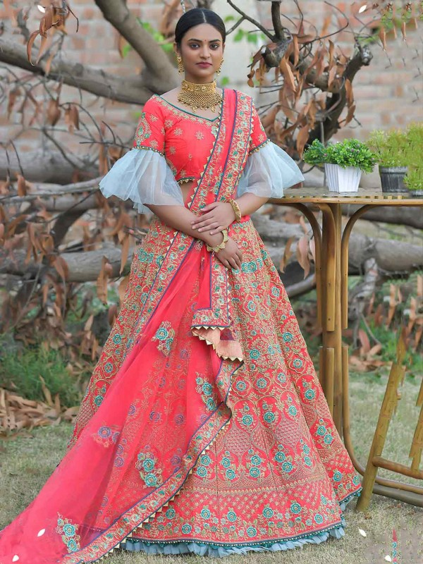 Pink Colour Silk Fabric Indian Wedding Lehenga Choli.