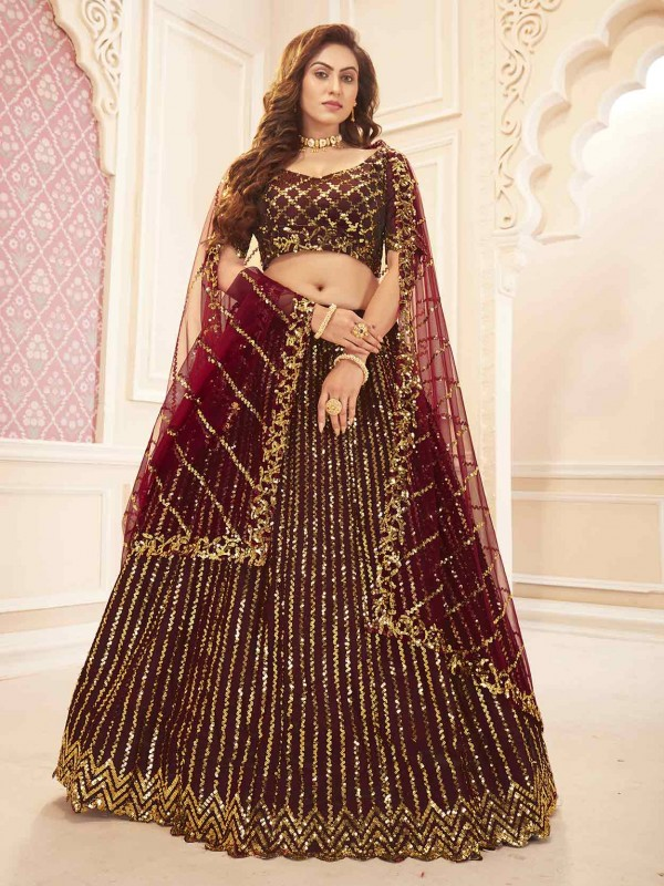 Maroon Colour Silk,Satin Fabric Wedding Lehenga Choli.