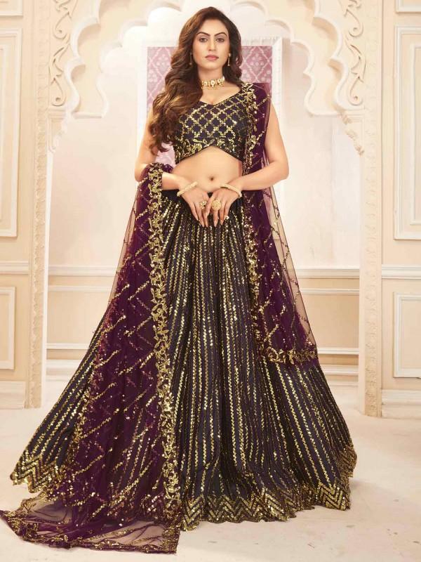Purple Colour Silk,Satin Fabric Indian Designer Lehenga Choli.