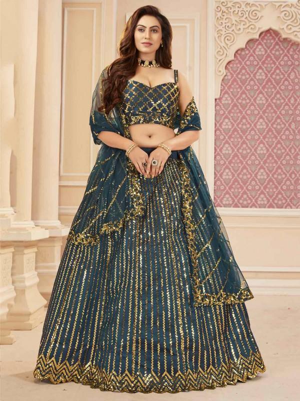 Blue Colour Silk,Satin Fabric Lehenga Choli With,Sequin,Embroidery Work.