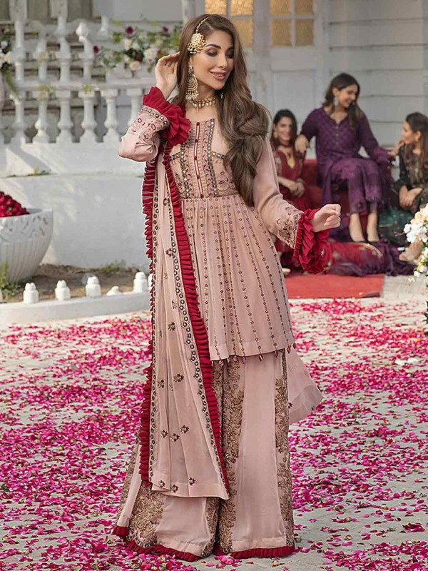 Rust Colour Georgette Fabric Palazzo Salwar Suit.