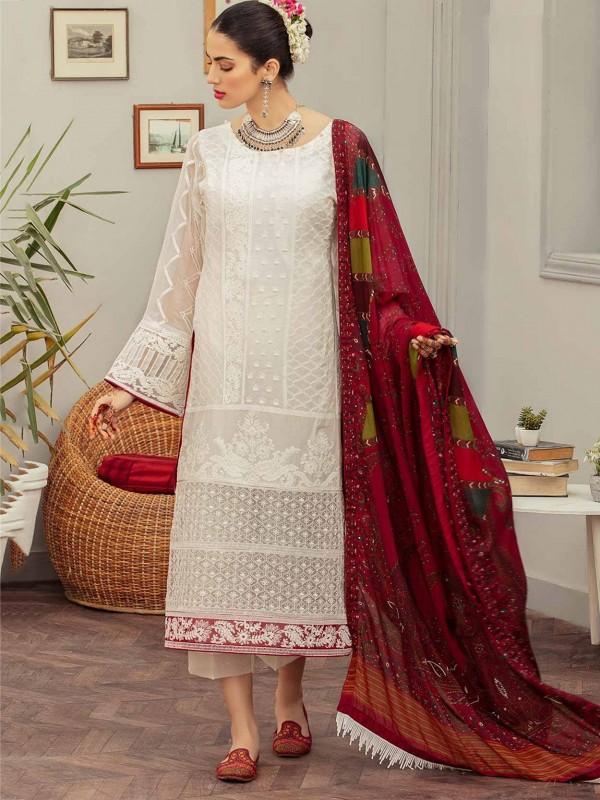 Off White Colour Georgette Fabric Designer Salwar Suit.