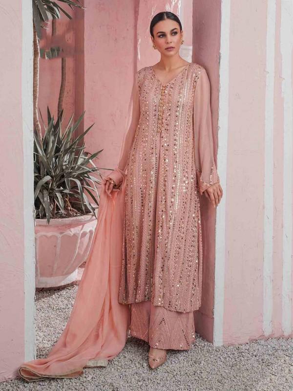 Peach Colour Georgette Palazzo Salwar Suit.