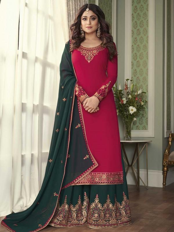 Pink Colour Georgette Fabric Designer Sharara Salwar Suit.