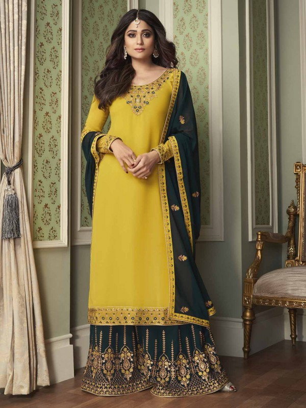 Sharara Style Bollywood Salwar Suit Yellow Colour in Georgette Fabric.