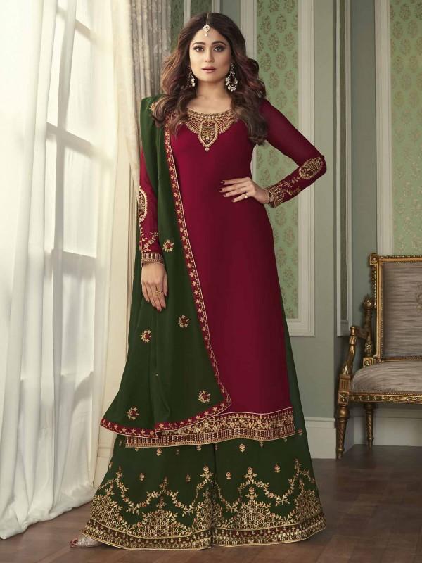 Maroon Colour Designer Sharara Salwar Suit in Georgette Fabric.