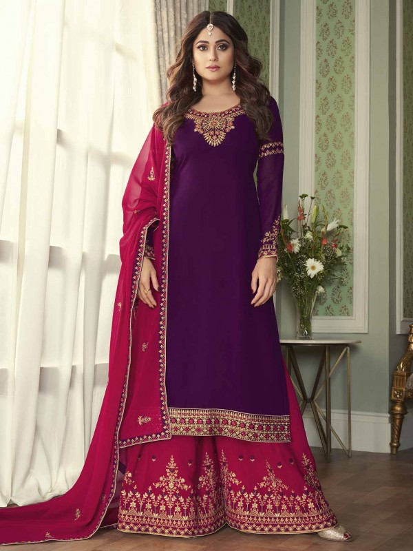 Purple Colour Party Wear Sharara Salwar Suit in Georgette Fabric.