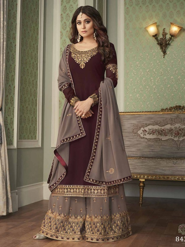 Georgette Fabric Bollywood Salwar Suit Brown Colour.