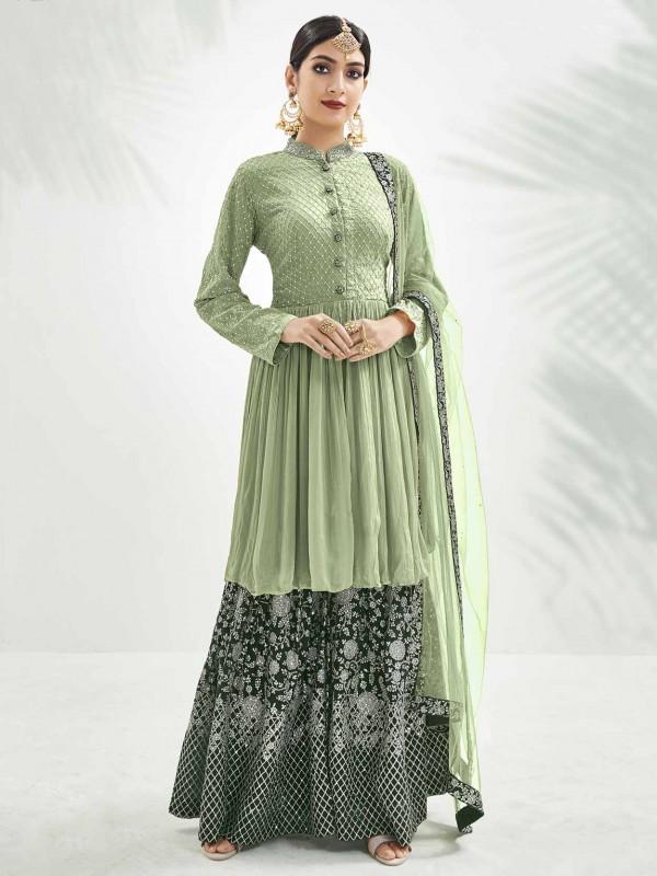 Light Green Colour Chinon Fabric Lehenga Style Salwar Suit.
