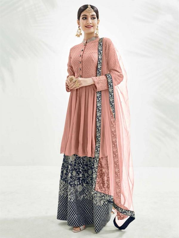 Peach Colour Chinon Fabric Salwar Suit.