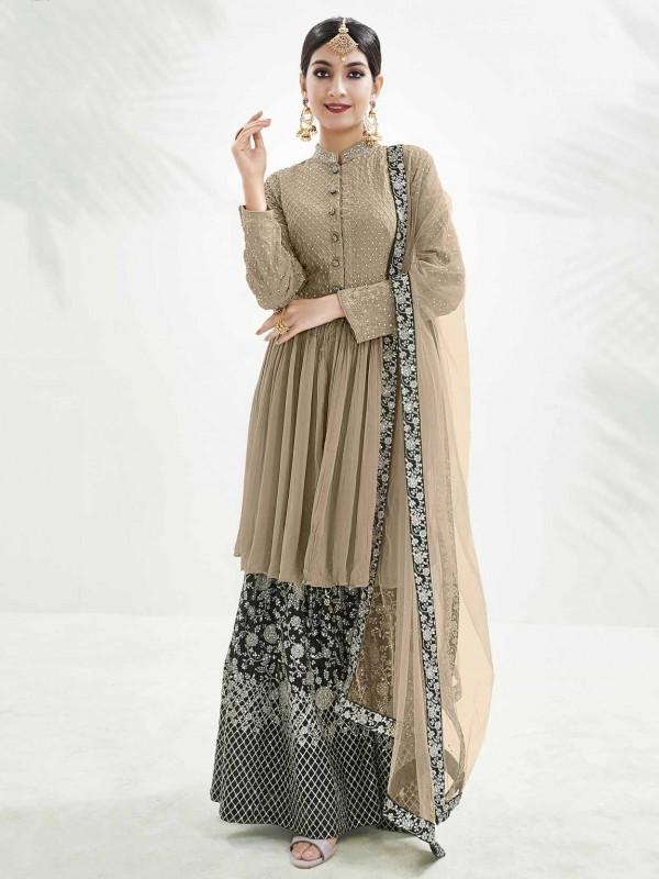 Light Brown Colour Chinon Fabric Designer Salwar Suit.