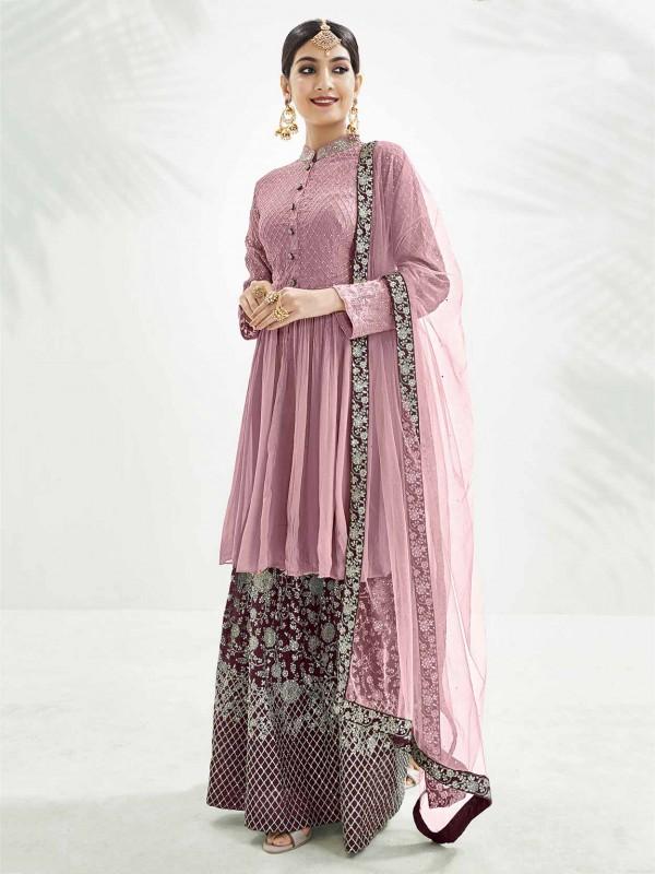 Light Pink Colour Chinon Fabric Lehenga Style Salwar Suit.