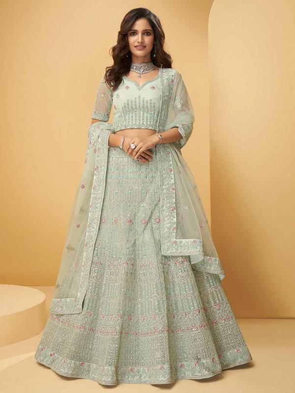 Green Colour Net Fabric Designer Lehenga Choli.