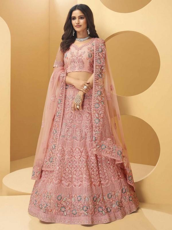 Wonderful Rose Pink Colour Net Fabric Wedding Lehenga Choli.