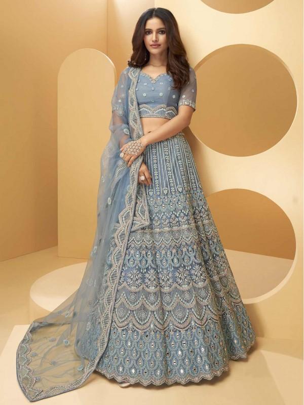 Blue Colour Net Designer Lehenga Choli.
