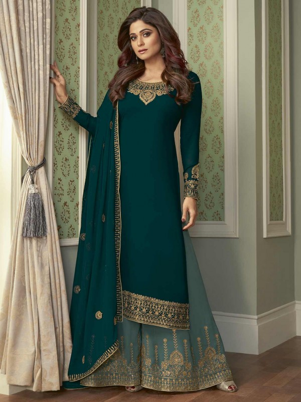 Rama Green Colour Georgette Fabric Designer Salwar Suit.