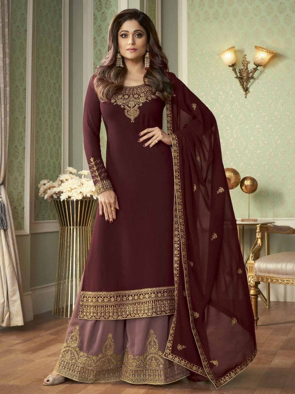 Maroon Colour Georgette Fabric Bollywood Salwar Suit.