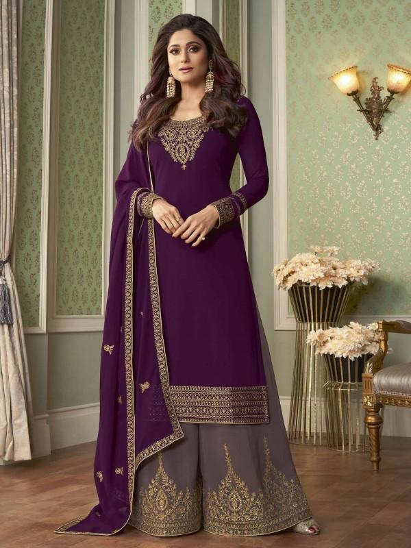Georgette Fabric Designer Sharara Salwar Suit Purple Colour.
