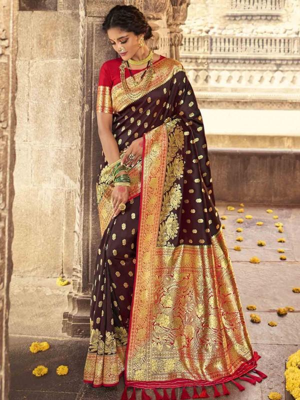 Brown Colour Banarasi Silk Women Saree.