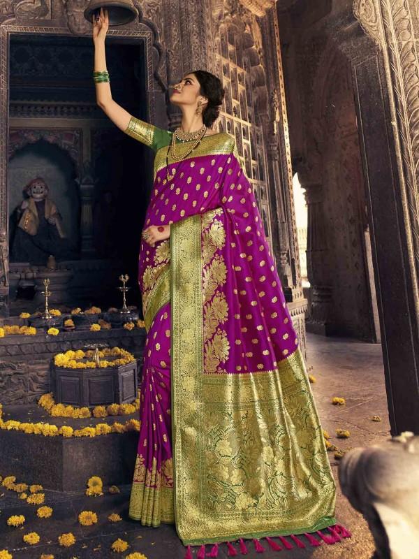 Banarasi Silk Designer Saree Purple Colour.