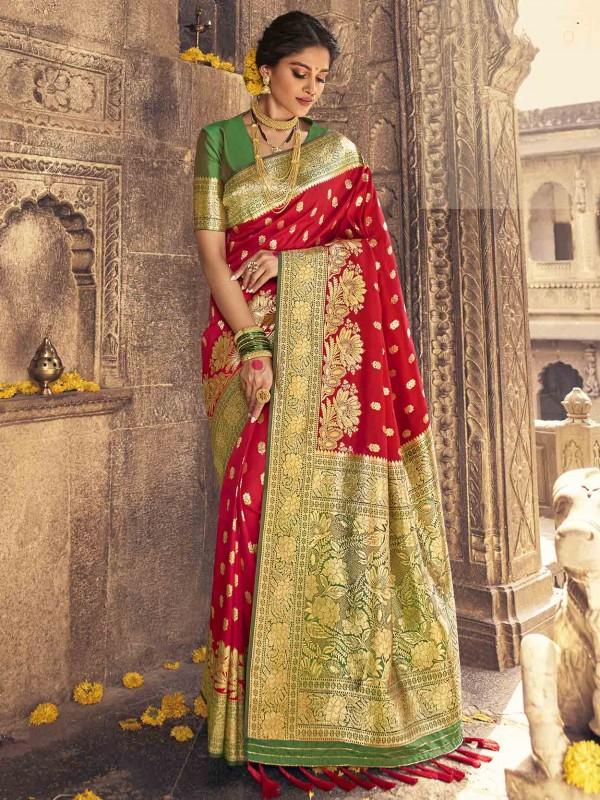 Red Colour Banarasi Silk Saree.