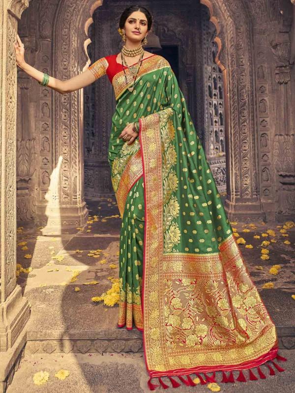 Banarasi Silk Indian Designer Saree Green Colour.