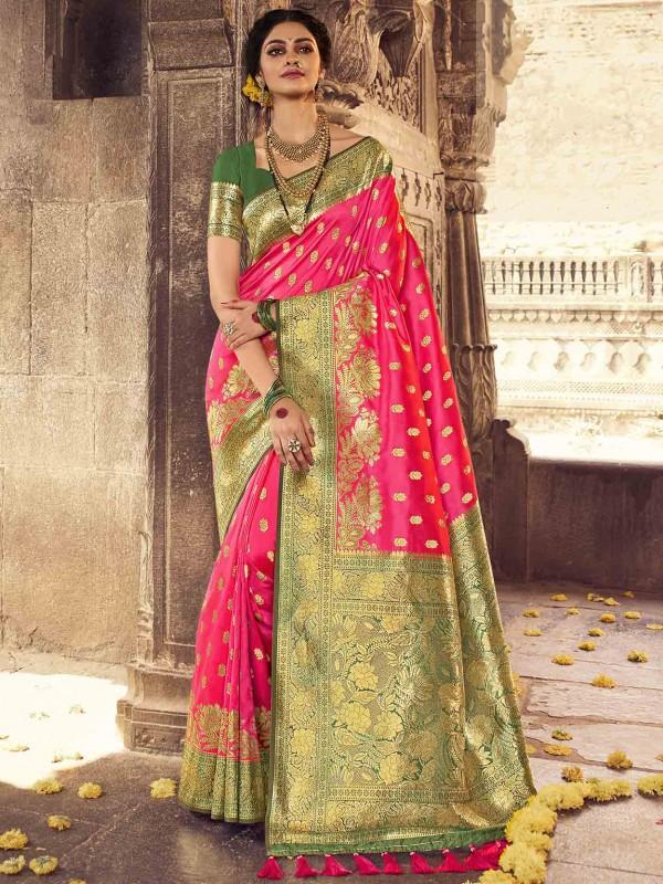 Pink Colour Banarasi Silk Traditional Saree.