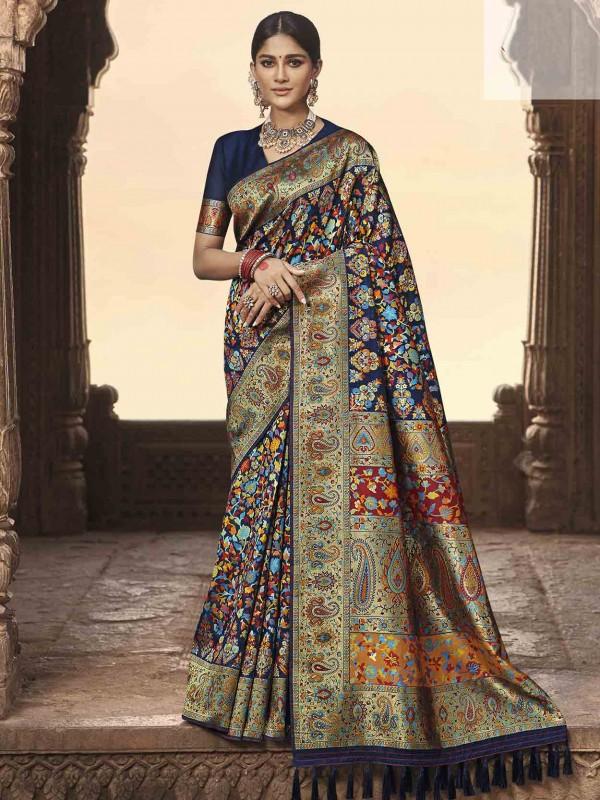 Navy Blue Colour Banarasi Kora Silk Designer Saree.