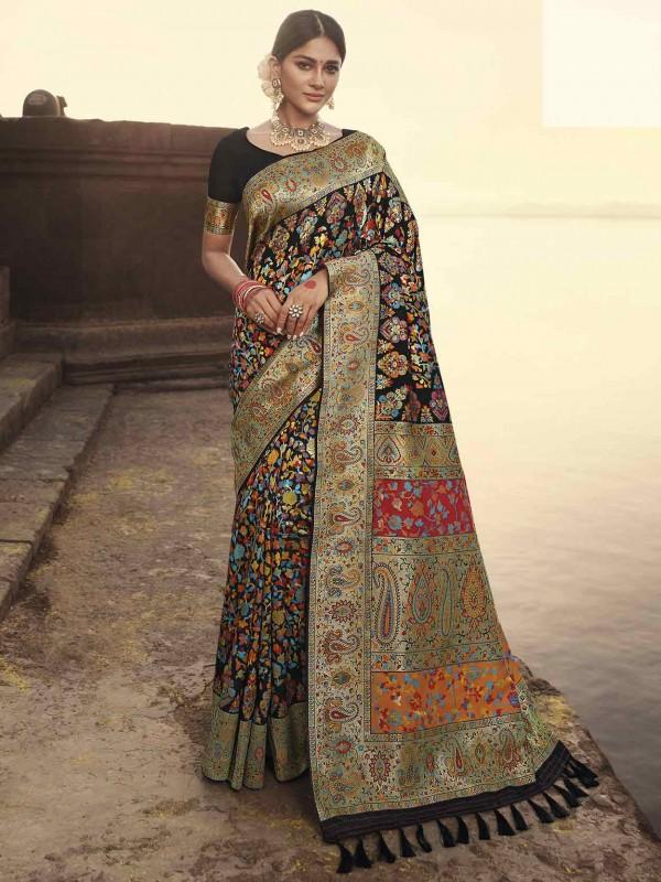 Black Colour Banarasi Kora Silk Saree.