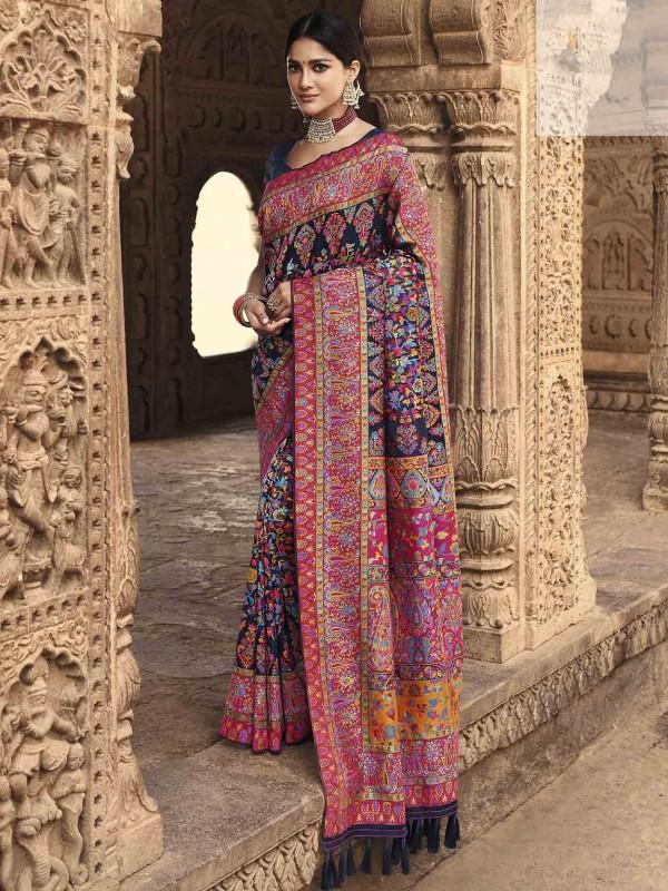 Navy Blue Colour Banarasi Kora Silk Indian Designer Saree.