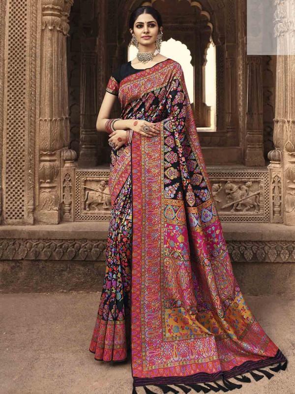 Black Colour Banarasi Kora Silk Fabric Weaving Saree.