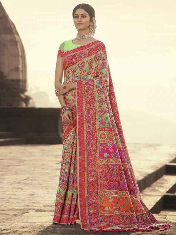 Banarasi Kora Silk Designer Saree Pista Green Colour.