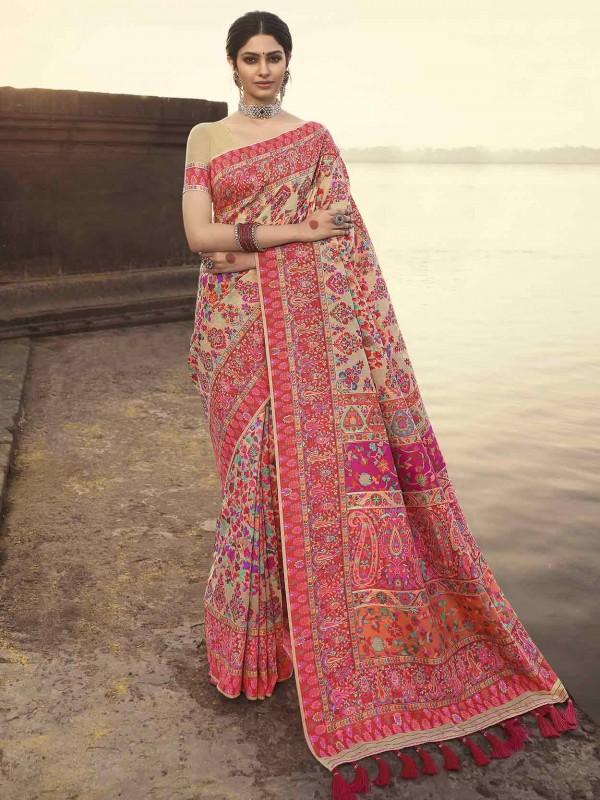 Pink,Beige Colour Banarasi Kora Silk Fabric Indian Traditional Saree.