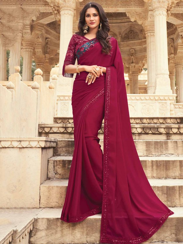 Maroon Colour Silk Designer Saree.