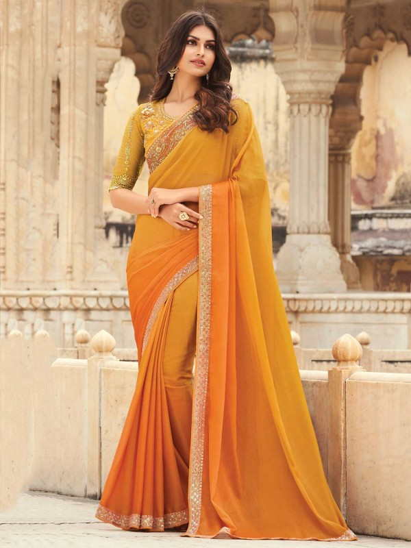 Mustard Yellow Colour Silk Saree.