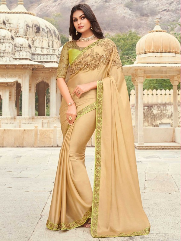 Cream Colour Silk Fabric Wedding Saree.