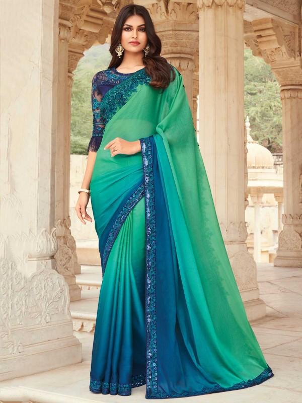 Green,Blue Colour Silk Fabric Party Wear Saree.