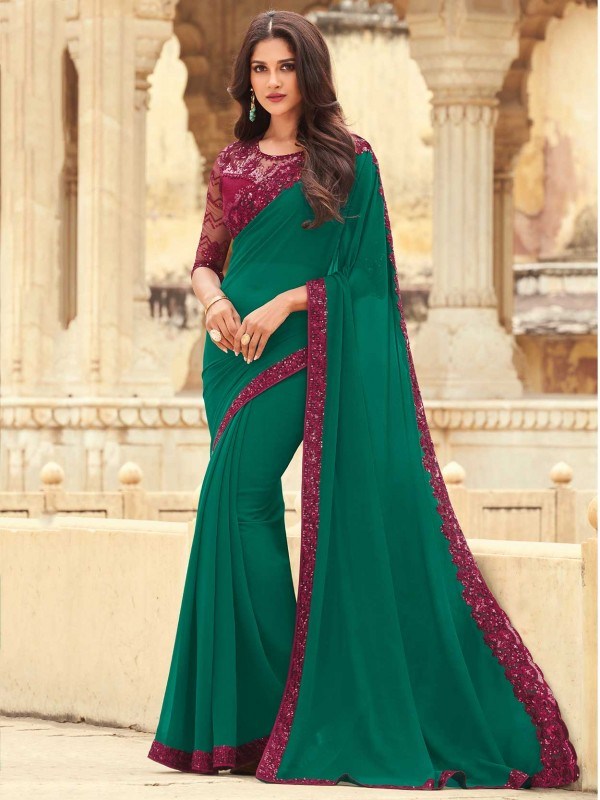 Green Colour Georgette Fabric Saree With Embroidery Work.