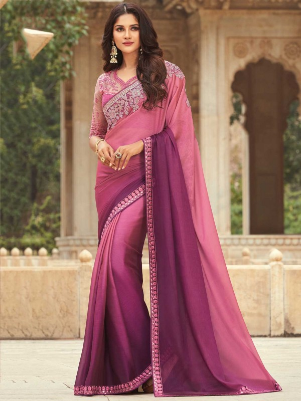 Pink,Purple Colour Silk Fabric Party Wear Saree.