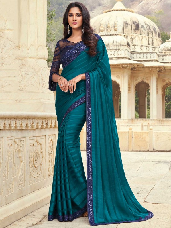 Silk Saree Blue Colour With Embroidery Work.