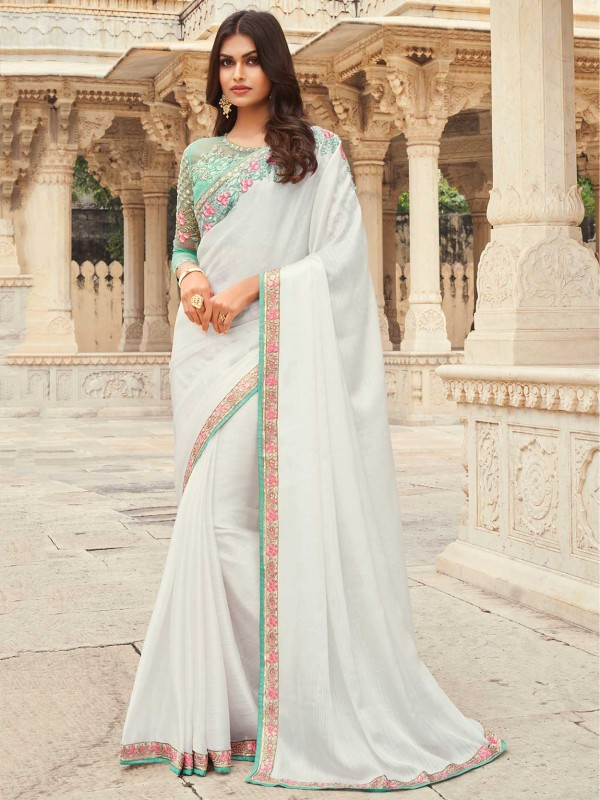 Off White Colour Silk Indian Designer Saree.