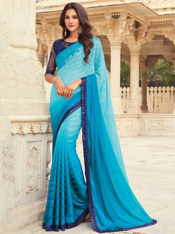 Blue Colour Silk Women Saree.