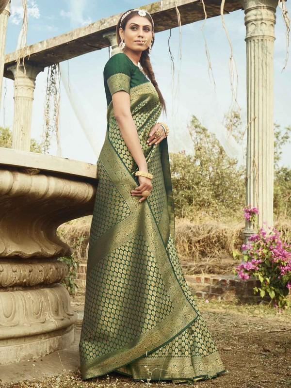 Green Colour Banarasi Silk Saree.