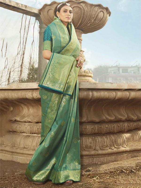 Rama Green Colour Banarasi Silk Fabric Weaving Saree.