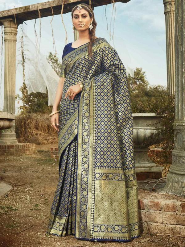 Banarasi Silk Saree Blue Colour.